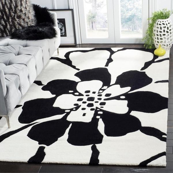 Safavieh Handmade Soho Modern Floral Black New Zealand Wool Rug - 7'6 x 9'6