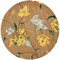 Safavieh Handmade Soho Brown Floral New Zealand Wool Rug - 6' x 6' Round