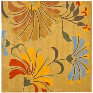 Safavieh Handmade Soho Nadin Floral N.Z. Wool Rug (6 x 6 Square - Golden Olive)