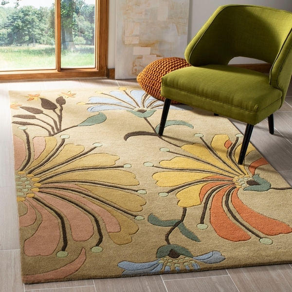 "Safavieh Handmade Soho Gold/ Multi New Zealand Wool Rug - 7'6"" x 9'6"""