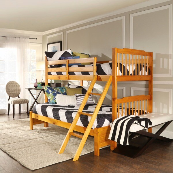 TRIBECCA HOME Simone Honey Pine Twin/ Full Bunk Bed