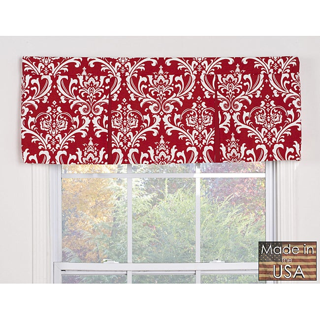 Elysee Red Damask Cotton Pleated Window Valance