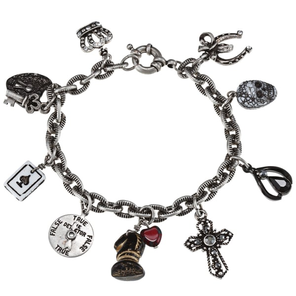 Sweet Romance Lucky Amulet Gothic Silver Charm Bracelet