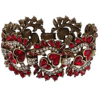 Sweet Romance Garnet Hearts Vintage Statement Bracelet