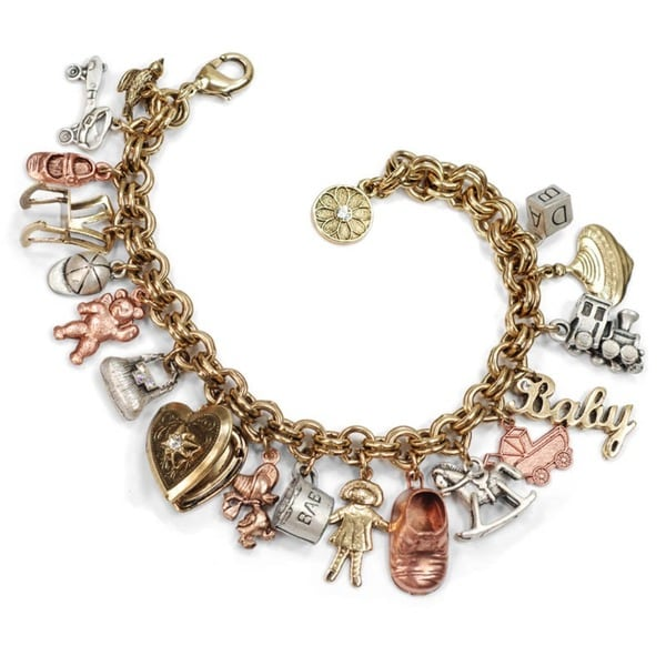 Sweet Romance Vintage Baby Mother Charm Bracelet