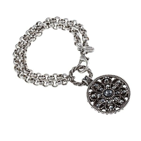 Sweet Romance Marcasite Vintage Crystal Medallion Bracelet
