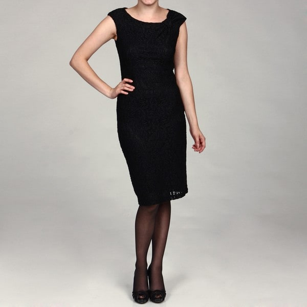 Evan Picone Women S Black Lace Cap Sleeve Dress Free