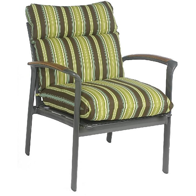 Josi Stripe Brown Lime Green Outdoor Chair Cushion Free