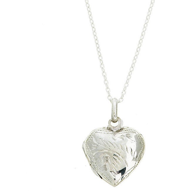 Sterling Essentials Sterling Silver 18-inch Engraved Heart Necklace