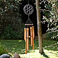 Handmade Bamboo Carved Flower Power Wind Chime (Indonesia)