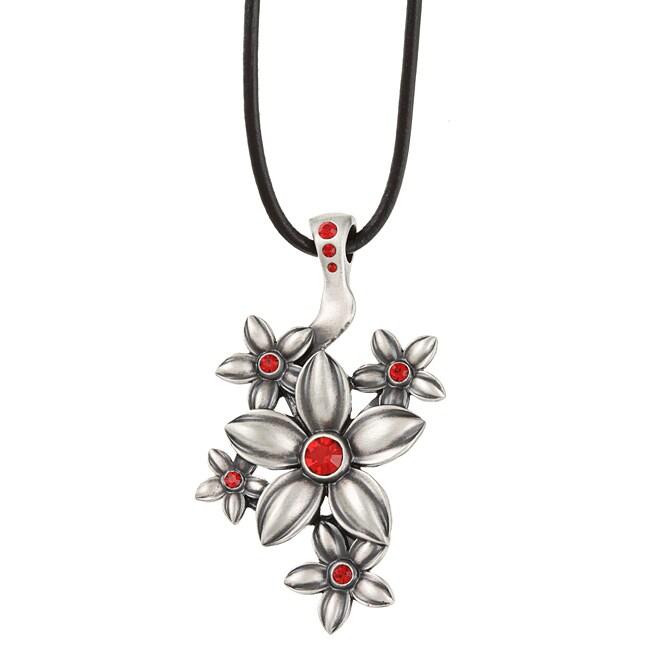 Fine Grade Pewter Fleurette Red Crystal Flower Necklace