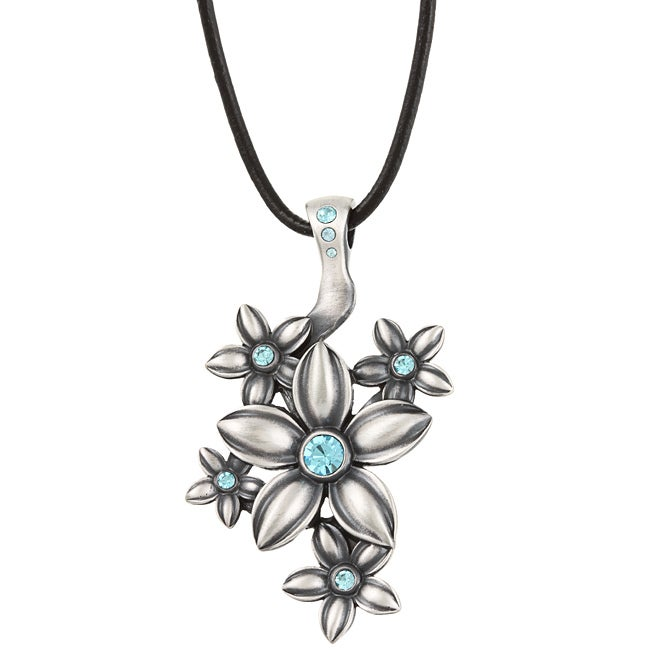 Fine Grade Pewter Fleurette Blue Crystal Necklace
