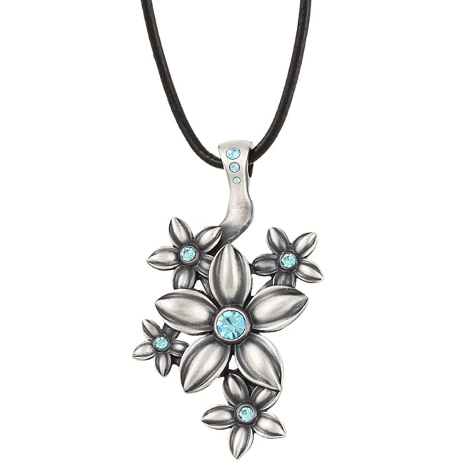 Fine Grade Pewter Fleurette Blue Crystal Necklace - Thumbnail 0