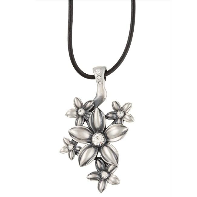 Fine Grade Pewter Fleurette Clear Crystal Flower Necklace