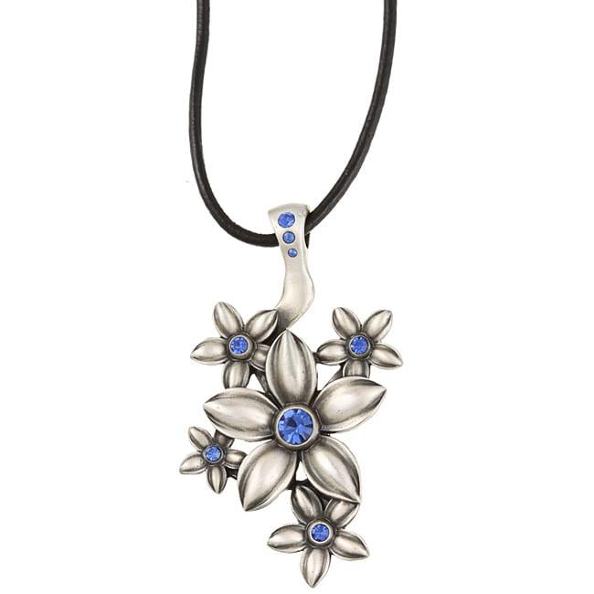 Fine Grade Pewter Fleurette Blue Crystal Pendant
