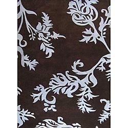 Alliyah Handmade New Zeeland Blend Brown Floral Wool Rug - 8' x 10' - Thumbnail 0