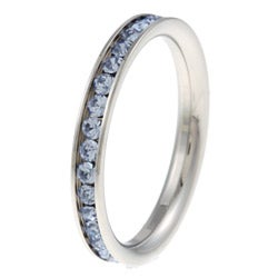 Stainless Steel Light Blue Cubic Zirconia Eternity Ring