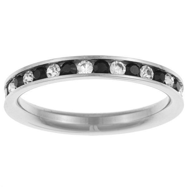 Highly Polished Stainless Steel Black and White Cubic Zirconia Eternity Ring