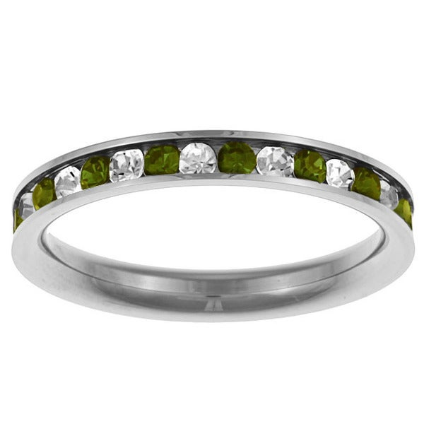 Stainless Steel Light Green and White Stackable Cubic Zirconia Eternity Ring