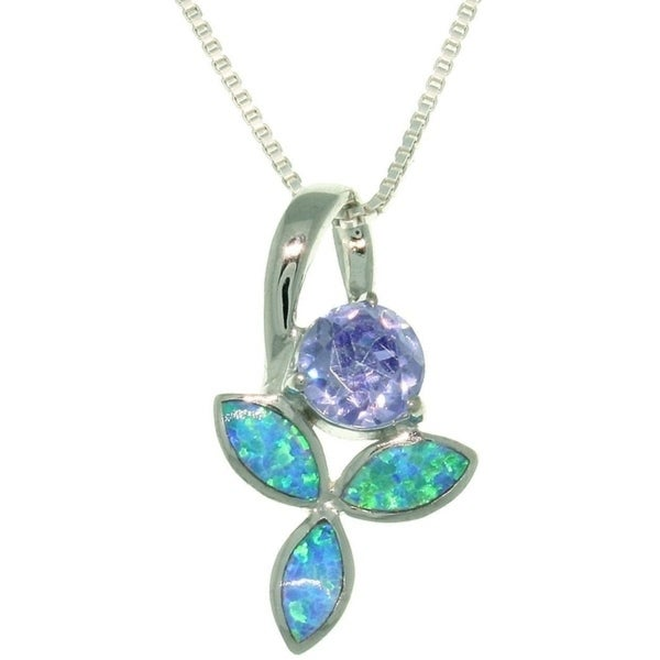 Sterling Silver Wild Iris Created Opal and Cubic Zirconia Necklace - Blue