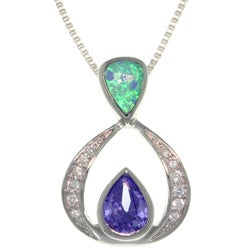 Carolina Glamour Collection Sterling Silver Vintage Created Opal and Cubic Zirconia Necklace