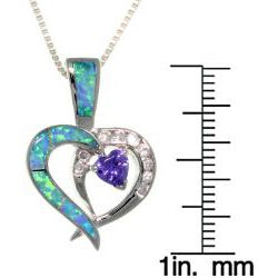 Carolina Glamour Collection Sterling Silver Double Heart Created Opal and Cubic Zirconia Necklace - Thumbnail 2