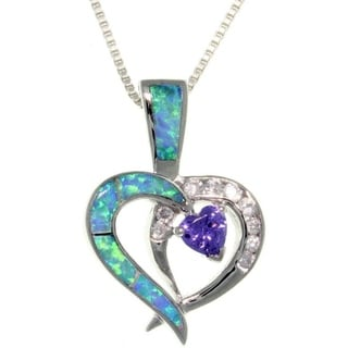 Sterling Silver Double Heart Created Opal and Cubic Zirconia Necklace - Blue