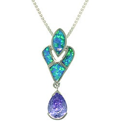Carolina Glamour Collection Sterling Silver Victorian Created Opal and Cubic Zirconia Necklace