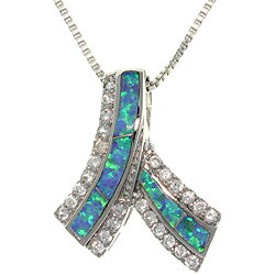 Carolina Glamour Collection Sterling Silver Glittering Ribbon Created Opal and Cubic Zirconia Necklace