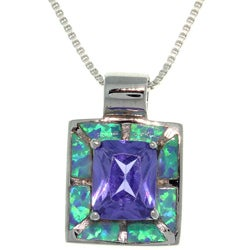 Carolina Glamour Collection Sterling Silver Created Opal and Cubic Zirconia Square Royal Purple Necklace