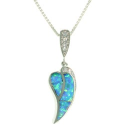 Carolina Glamour Collection Sterling Silver Dangling Heart Created Opal and Cubic Zirconia Necklace