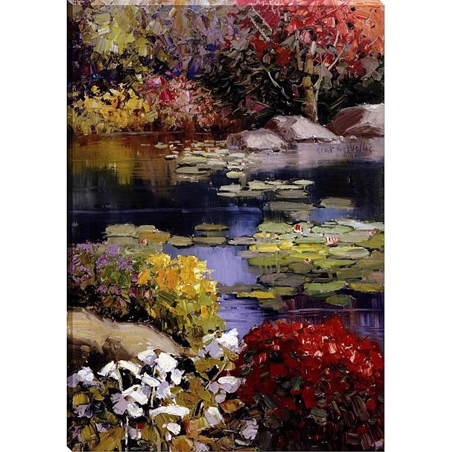 Kent wallis 39 garden pond 39 gallery wrapped canvas art for Garden pond kent