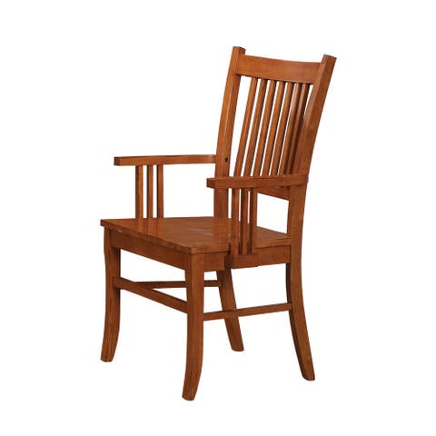 Slat Back Arm Chairs Sienna Brown (Set of 2)