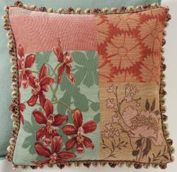 Corona Decor French Woven Patchwork Feather and Down Filled Jacquard Decorative Pillow - Thumbnail 1