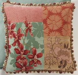 Corona Decor French Woven Patchwork Feather and Down Filled Jacquard Decorative Pillow - Thumbnail 2