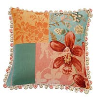 Corona Decor French Woven Orchid Flower Feather and Down Filled  Jacquard Decorative Pillow