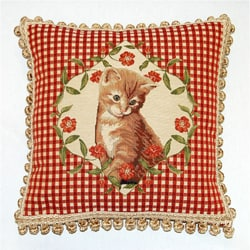 Corona Decor French Woven Jaquard Kitten Feather and Down Filled  Decorative Pillow