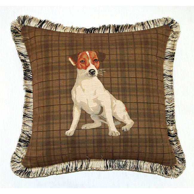 Corona Decor French Woven Fox Terrier Feather and Down Fill Jacquard Decorative Down Pillow