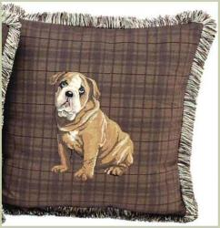 Corona Decor French Woven Feather and Down Filled Bull Dog Jacquard Decorative Pillow - Thumbnail 1