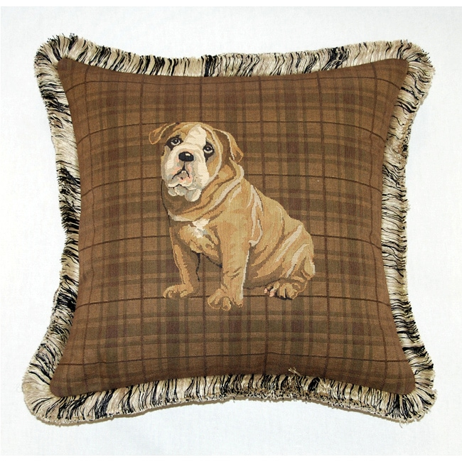 Corona Decor French Woven Feather and Down Filled Bull Dog Jacquard Decorative Pillow