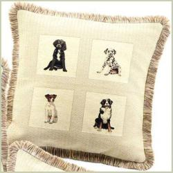 Corona Decor Dogs French Feather and Down Filled Woven Jacquard Decorative Pillow - Thumbnail 1