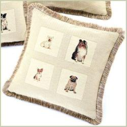 Corona Decor French Woven Feather and Down Filled Best Friends Jacquard Decorative Pillow - Thumbnail 1