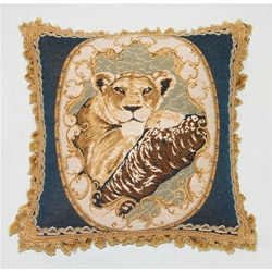Corona Decor French Woven Jaquard Feather and Down Filled Lion Decorative Pillow