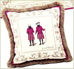Corona Decor French Woven Jacquard Red Coats Throw Pillow - Thumbnail 2