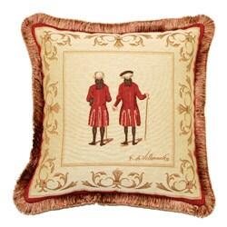Corona Decor French Woven Jacquard Red Coats Throw Pillow