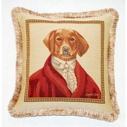 Corona Decor French Woven Jaquard Feather and Down Filled Sir Dog Buckingham Decorative Pillow