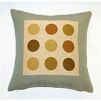 Corona Decor French Woven Jaquard Feather and Down Filled  Dots Decorative Pillow