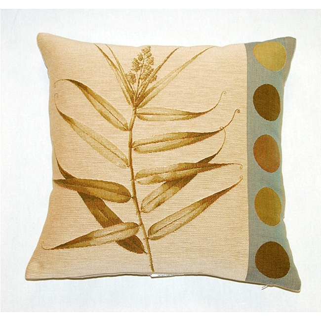 Corona Decor French Woven Jaquard Feather and Down Filled Fern and Dot Decorative Pillow