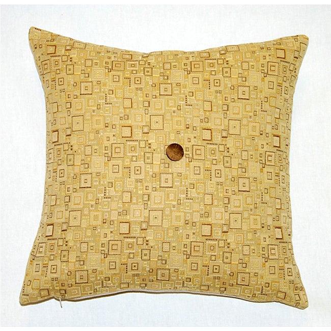 Corona Decor Italian Feather and Down Fill Woven Fabric Square Decorative Pillow