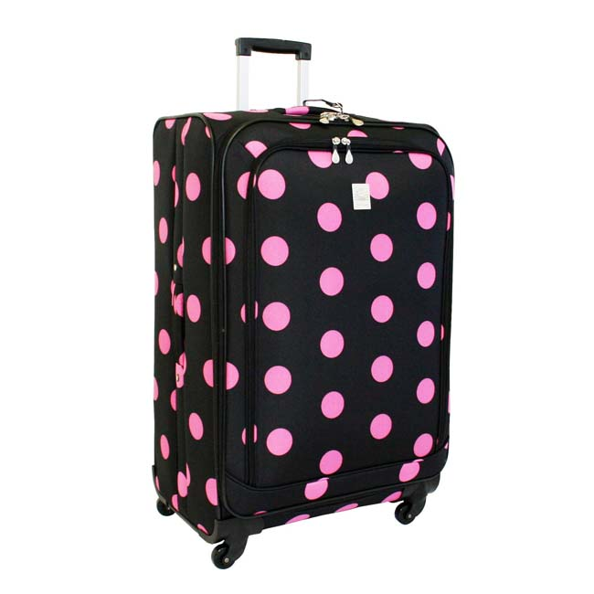 Jenni Chan Dots Black and Pink 360 Quattro 28-inch Spinner Upright Suitcase - Thumbnail 0